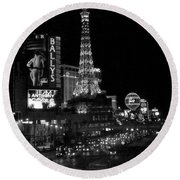 The Strip By Night B-w Round Beach Towel