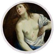 The Suicide Of Lucretia 1640 Round Beach Towel