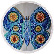 The Summer Butterfly Round Beach Towel
