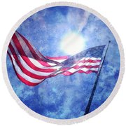 The Sun And The Flag Round Beach Towel
