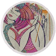 The Sun And The Girl Round Beach Towel