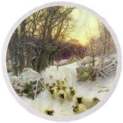 The Sun Had Closed The Winter's Day  Round Beach Towel by Joseph Farquharson