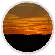 The Sun Has Set In Cape Cod Round Beach Towel