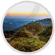 The Sun Of The Evening Of The Mountain And Sea Round Beach Towel