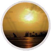 The Sun Rises Round Beach Towel