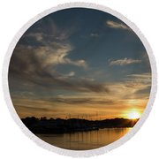 The Sun Sets In Milford Round Beach Towel