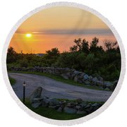The Sun Sets On Block Island Round Beach Towel