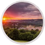 The Sun Sets Over Hexham Round Beach Towel