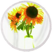 The Sunflowers In A Glass Vase. Round Beach Towel