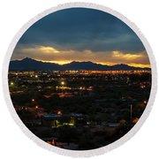 The Sunset From Popago Park Phoenix Arizona Az Golden Round Beach Towel