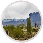 The Superstitions  Landscape Round Beach Towel