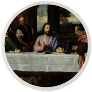 The Supper At Emmaus Round Beach Towel by Titian