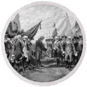 The Surrender Of Cornwallis At Yorktown Round Beach Towel