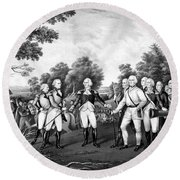 The Surrender Of General Burgoyne Round Beach Towel