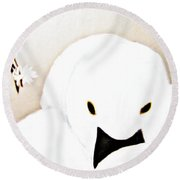 The Swan And The Little Flower Round Beach Towel