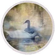 The Swans Round Beach Towel