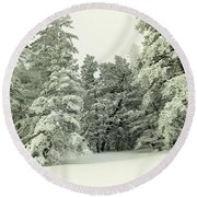 The Sweep Of Snow Round Beach Towel