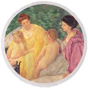 The Swim Or Two Mothers And Their Children On A Boat Round Beach Towel