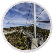 The Swinging Bridge Of Grandfather Mountain Round Beach Towel