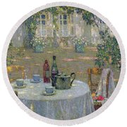 The Table In The Sun In The Garden Round Beach Towel by Henri Le Sidaner
