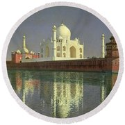 The Taj Mahal Round Beach Towel by Vasili Vasilievich Vereshchagin