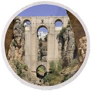 The Tajo De Ronda And Puente Nuevo Bridge Andalucia Spain Europe Round Beach Towel