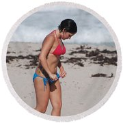 The Tattooed Ladys Peek A Boo Round Beach Towel
