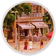 The Tavern On The Plaza - Spain Round Beach Towel