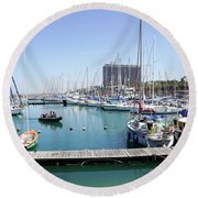 The Tel Aviv Marina  Round Beach Towel