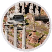 The Temple Of Castor And Pollux At The Forum From The Palatine Round Beach Towel