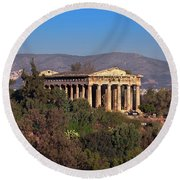 The Temple Of Hephaestus In The Morning, Athens, Greece Round Beach Towel