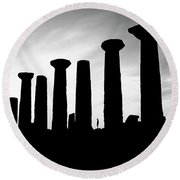 The Temple Of Hercules. Agrigento, Sicily.    Black And White Round Beach Towel