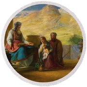 The Temple Of The Jews Round Beach Towel