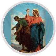 The Temptation Of Christ By The Devil Round Beach Towel