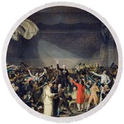 The Tennis Court Oath Round Beach Towel by Jacques Louis David
