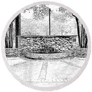 The Terrace In Black And White Round Beach Towel