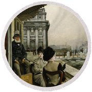 The Terrace Of The Trafalgar Tavern Greenwich Round Beach Towel
