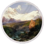 The Teton Range, 1897 Round Beach Towel