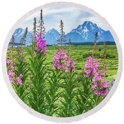 The Tetons Are Grand Round Beach Towel