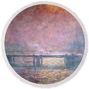 The Thames At Charing Cross Round Beach Towel