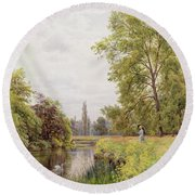 The Thames At Purley Round Beach Towel by William Bradley