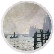 The Thames Below Westminster Round Beach Towel