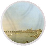 The Thames From The Terrace Of Somerset House Round Beach Towel