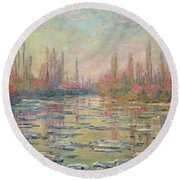 The Thaw On The Seine Round Beach Towel