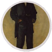 The Thinker, Portrait Of Louis Kenton Round Beach Towel