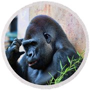 The Thinking Gorilla Round Beach Towel