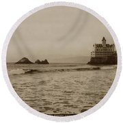 The  Third Cliff House And Seal Rocks From Pier, San Francisco,  Circa 1895 Round Beach Towel