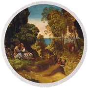 The Three Ages Of Man 1515 Round Beach Towel