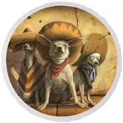 The Three Banditos Round Beach Towel by Sean ODaniels