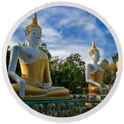 The Three Buddhas  Round Beach Towel